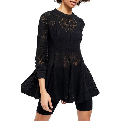 Free People Coffee In The Morning Tunic Pullover, Black