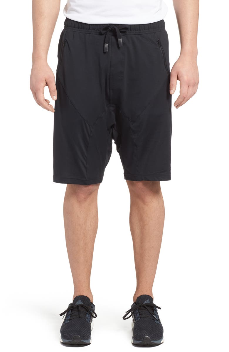 ALO Drop Crotch Shorts, Main, color, BLACK