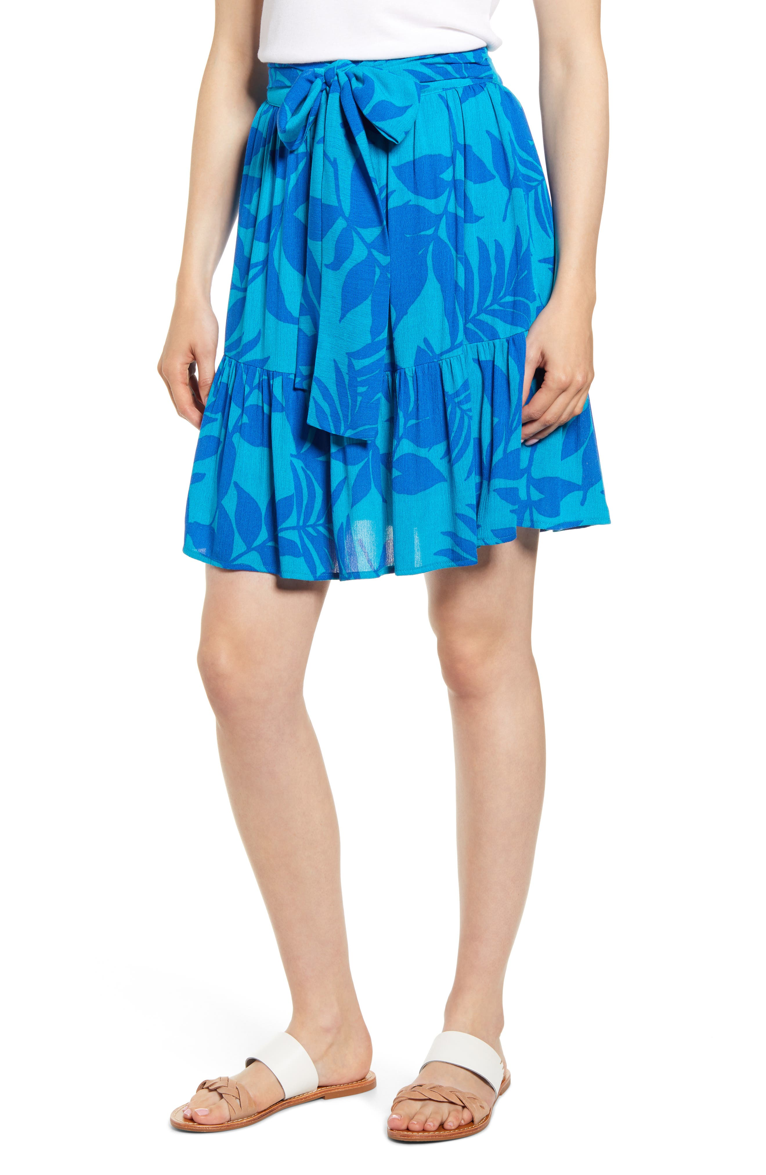 Petite Gibson X Hi Sugarplum! Capri Tiered Tie Front Summer Skirt, Orange