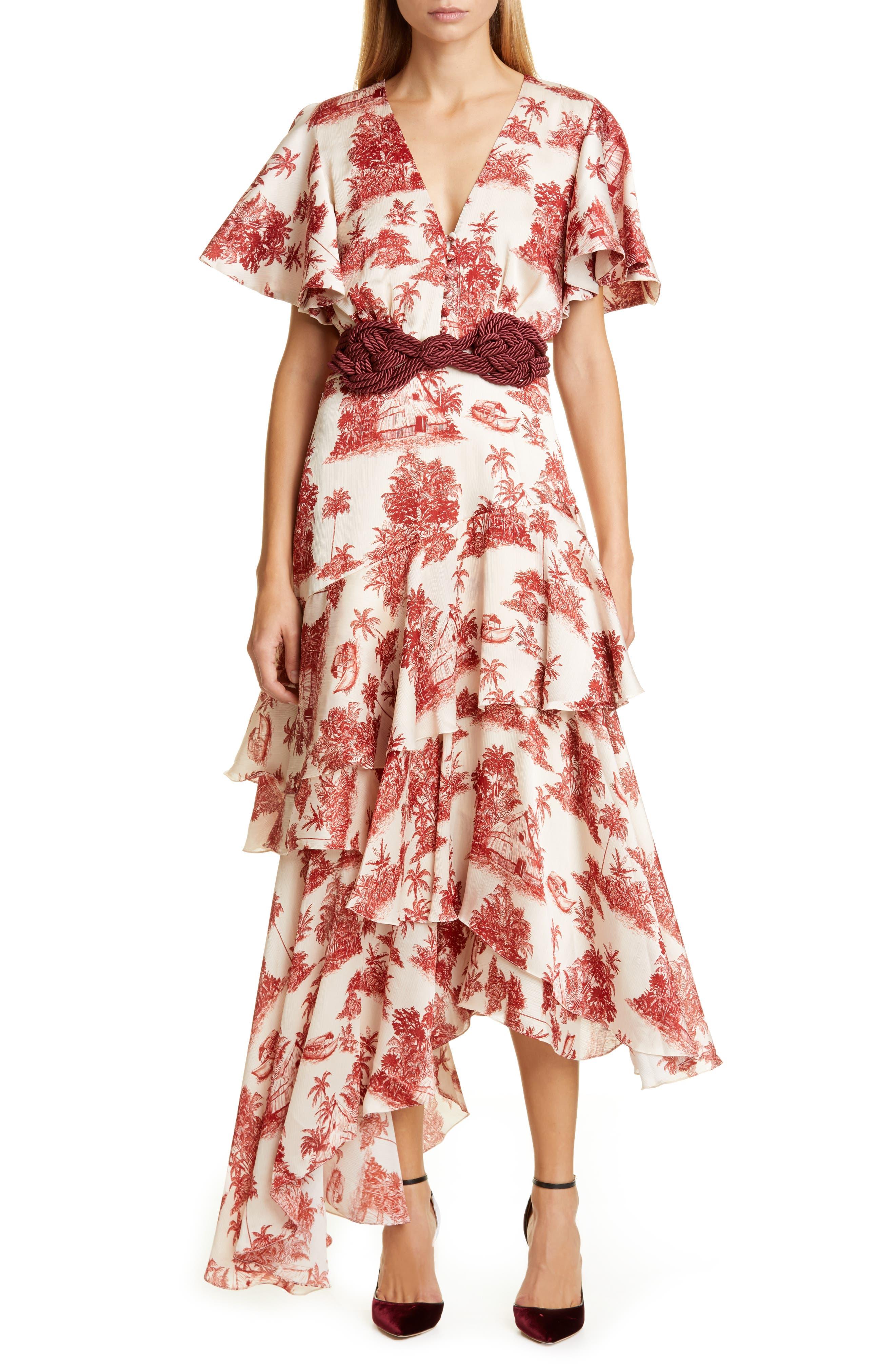 Johanna Ortiz Dresses Toile Palm Print Asymmetrical Georgette Midi Dress