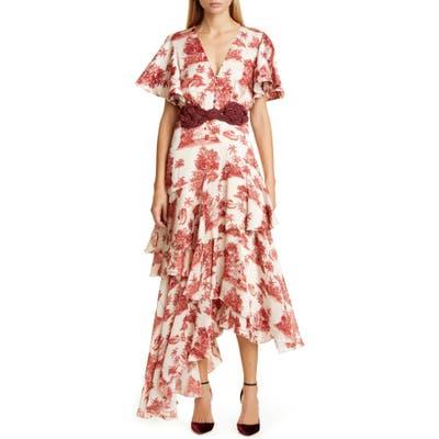 Johanna Ortiz Toile Palm Print Asymmetrical Georgette Midi Dress, Ivory