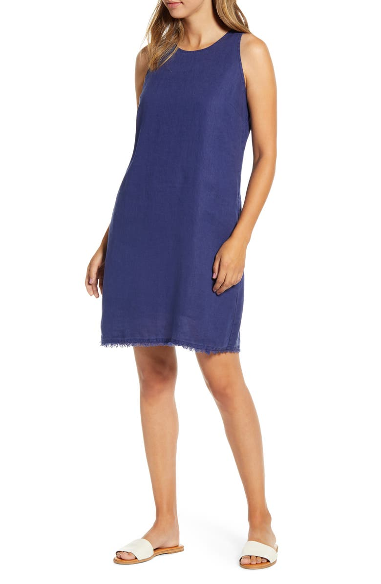 TOMMY BAHAMA Two Palms Frayed Trim Shift Dress, Main, color, ISLAND NAVY