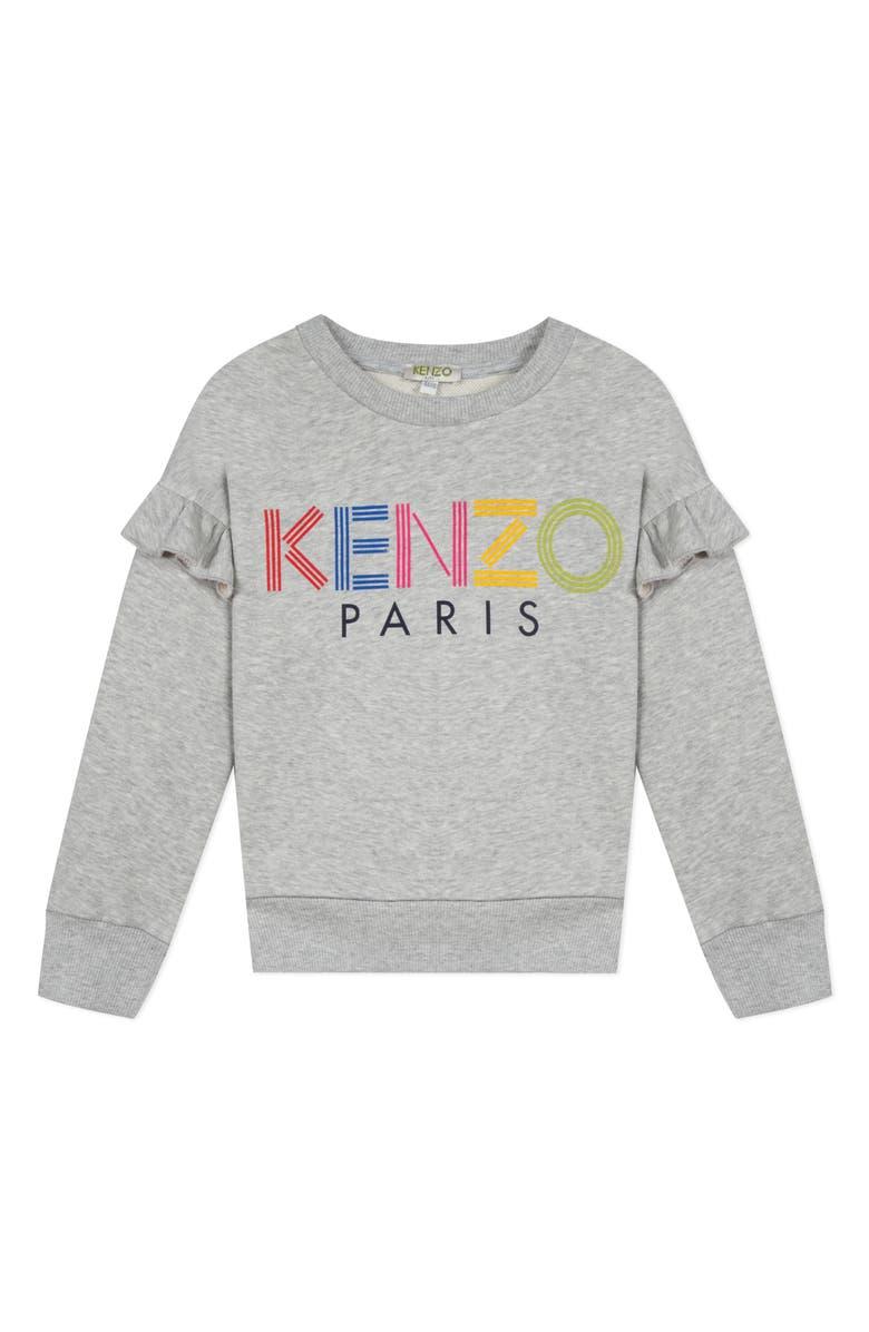 KENZO Logo Ruffle Sweatshirt, Main, color, GREY