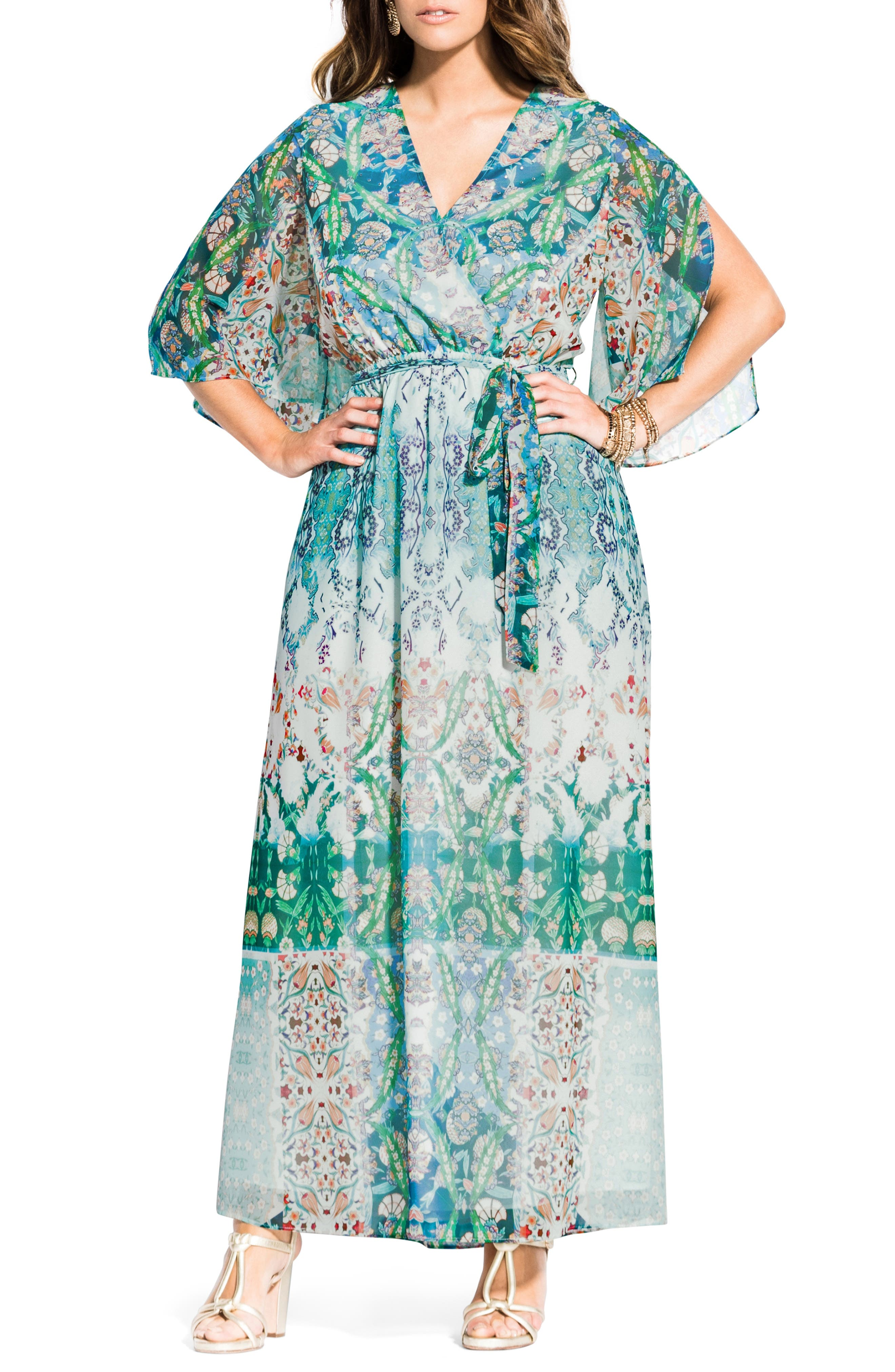 Plus Size City Chic Bella Vacanza Collection Istanbul Woven Maxi Dress, White