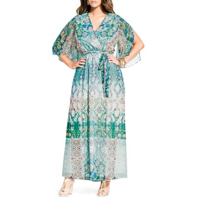 Plus Size City Chic Bella Vacanza Collection Istanbul Woven Faux Wrap Maxi Dress, White