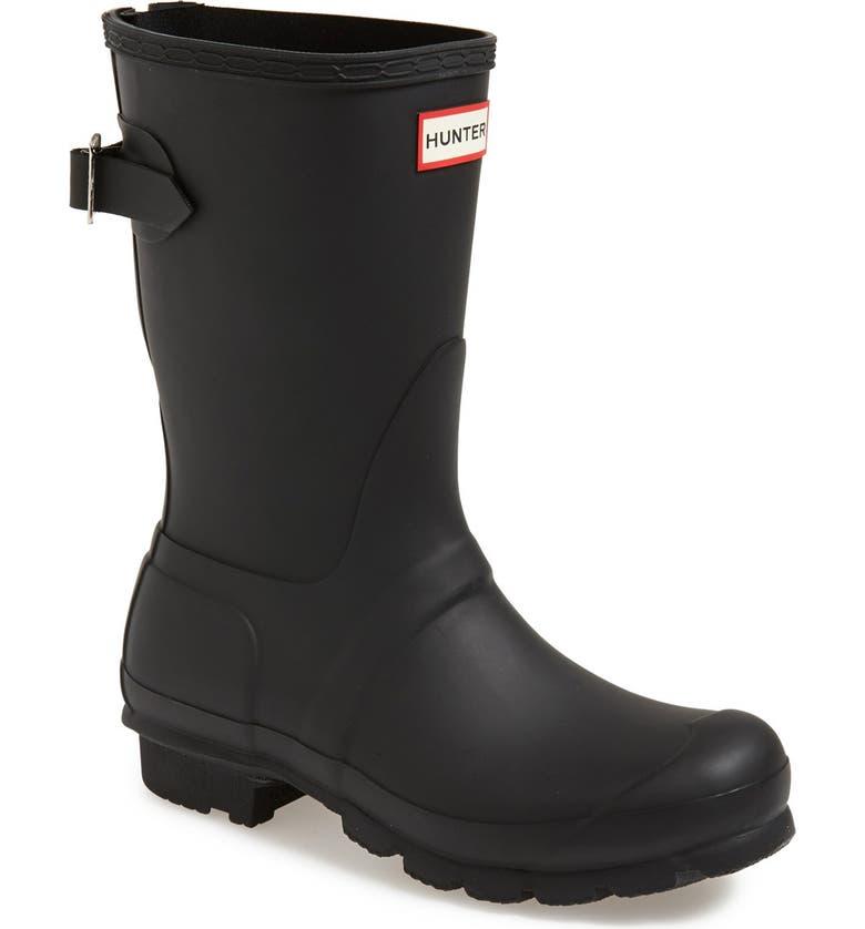 HUNTER Original Short Back Adjustable Waterproof Rain Boot, Main, color, BLACK