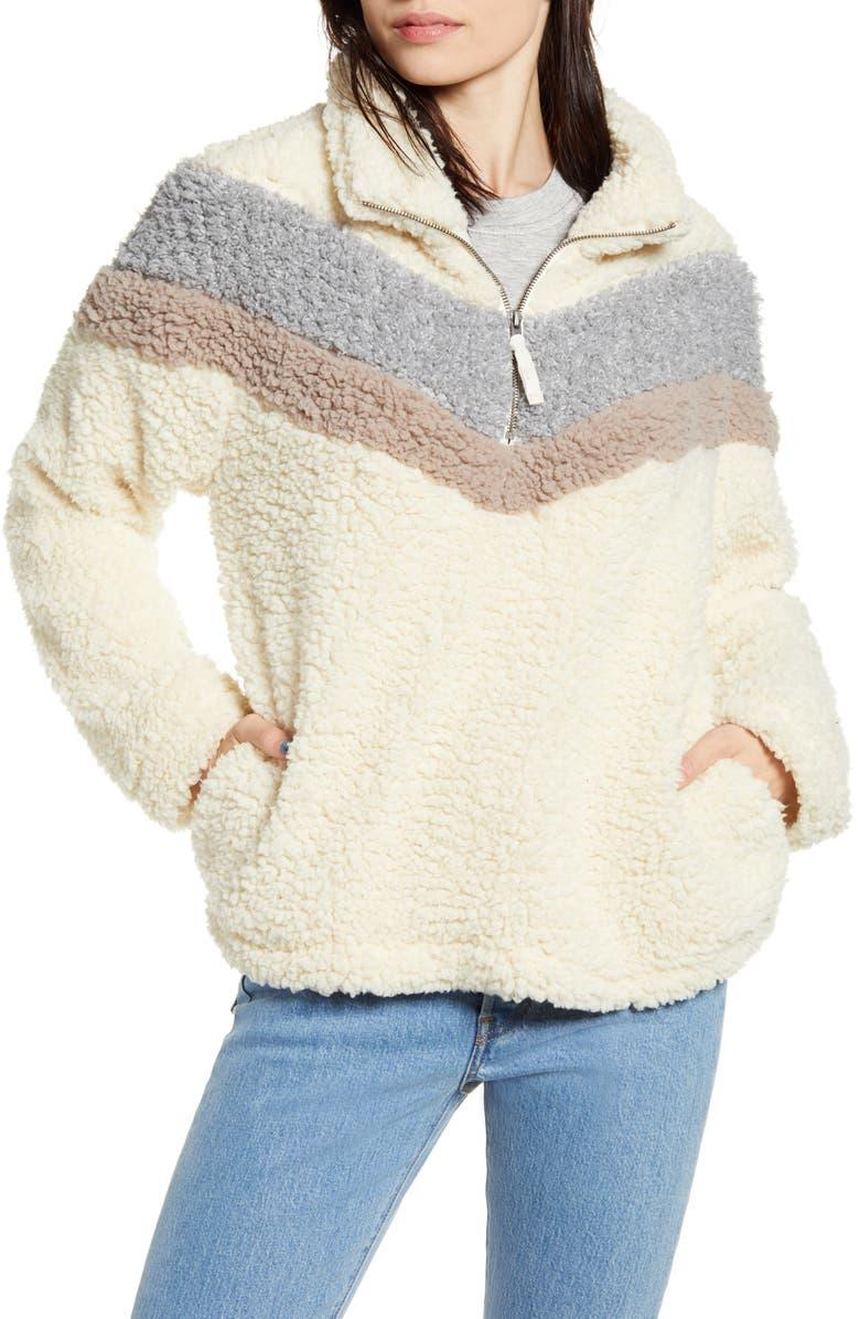 THREAD & SUPPLY Chevron Stripe Wubby Fleece Pullover, Main, color, 020