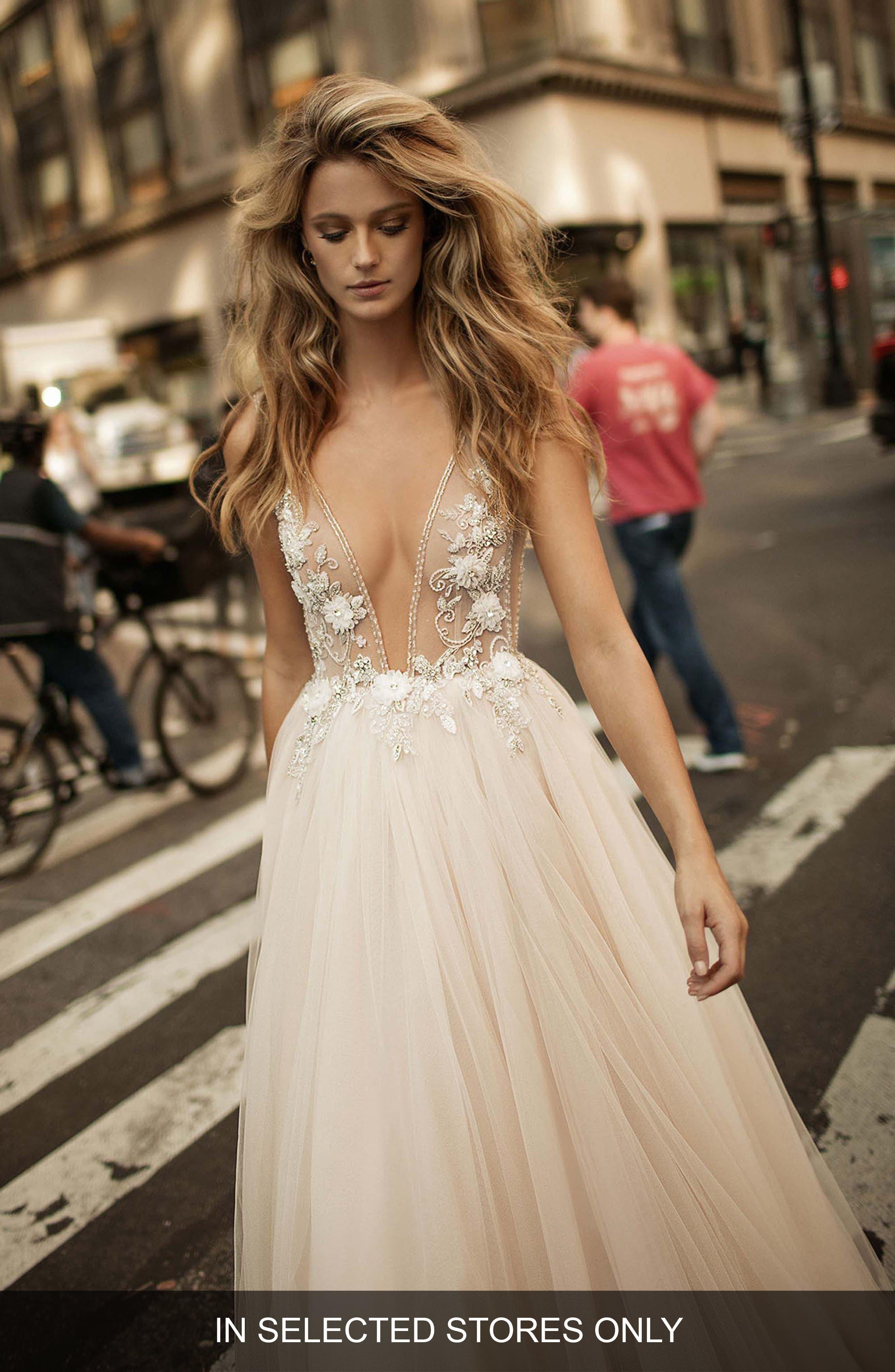 Berta Embellished Plunging V-Neck Tulle Gown