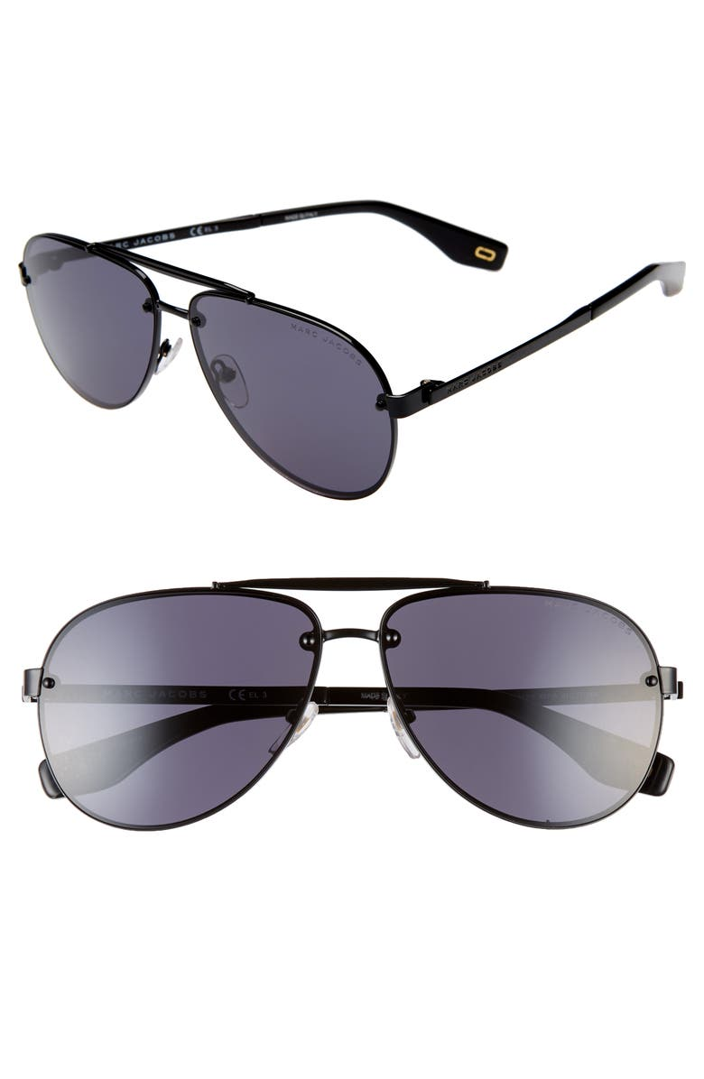 MARC JACOBS 61mm Aviator Sunglasses, Main, color, 001