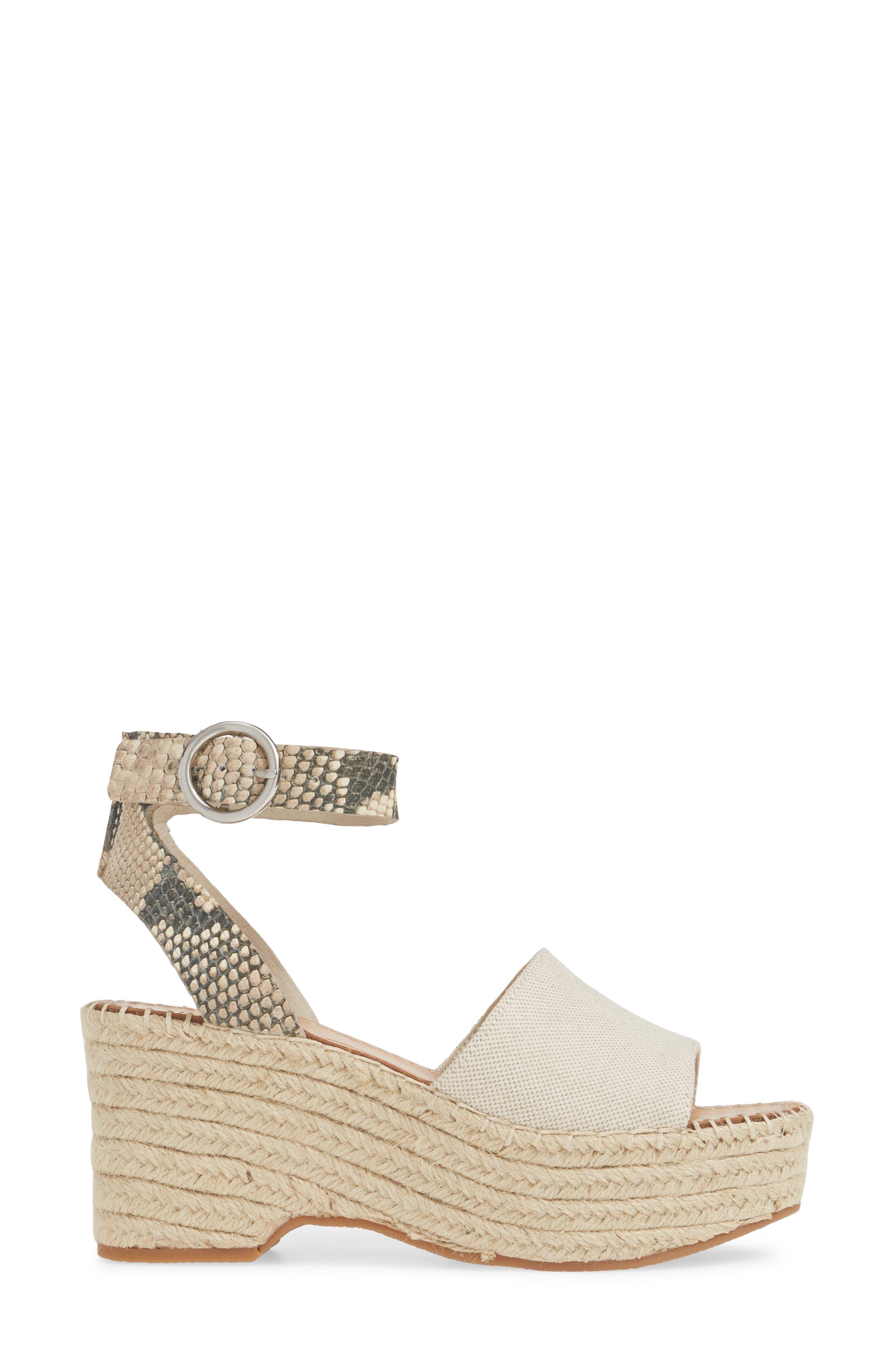,                             Lesly Espadrille Platform Sandal,                             Alternate thumbnail 3, color,                             NATURAL FABRIC