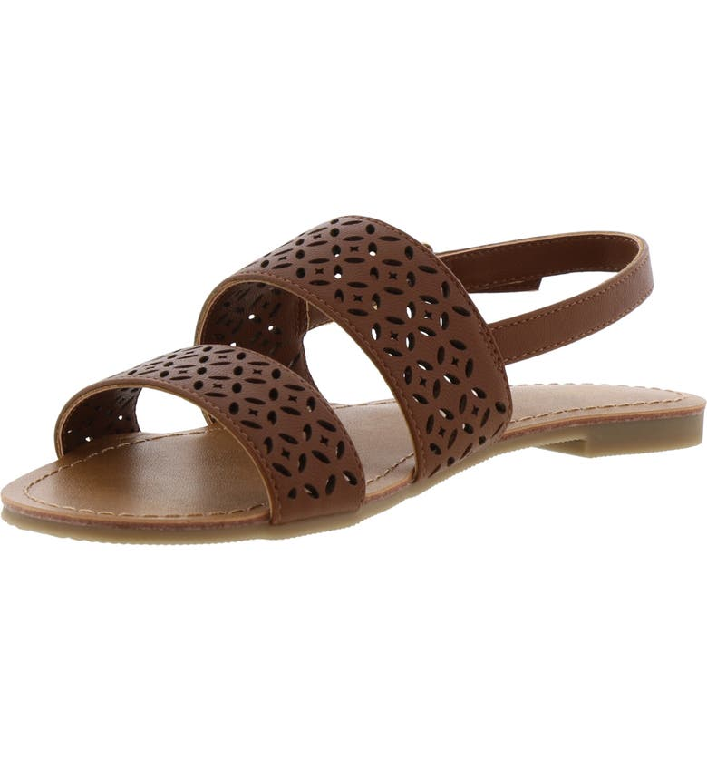 REACTION KENNETH COLE Kiera Celine Perforated Slingback Sandal, Main, color, COGNAC