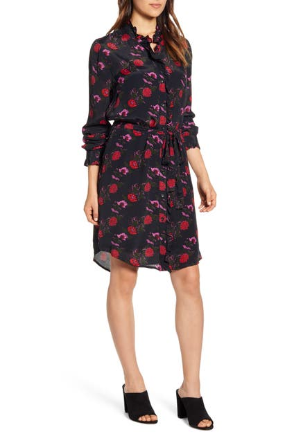 Lucky Brand Dresses MACKENZIE FLORAL LONG SLEEVE CREPE SHIRTDRESS