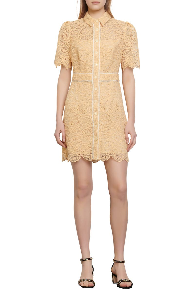 SANDRO Live Lace Short Sleeve Shirtdress, Main, color, PALE YELLOW
