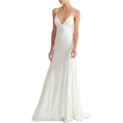 Joanna August Crosby Crepe Mermaid Gown, White (Nordstrom Exclusive)