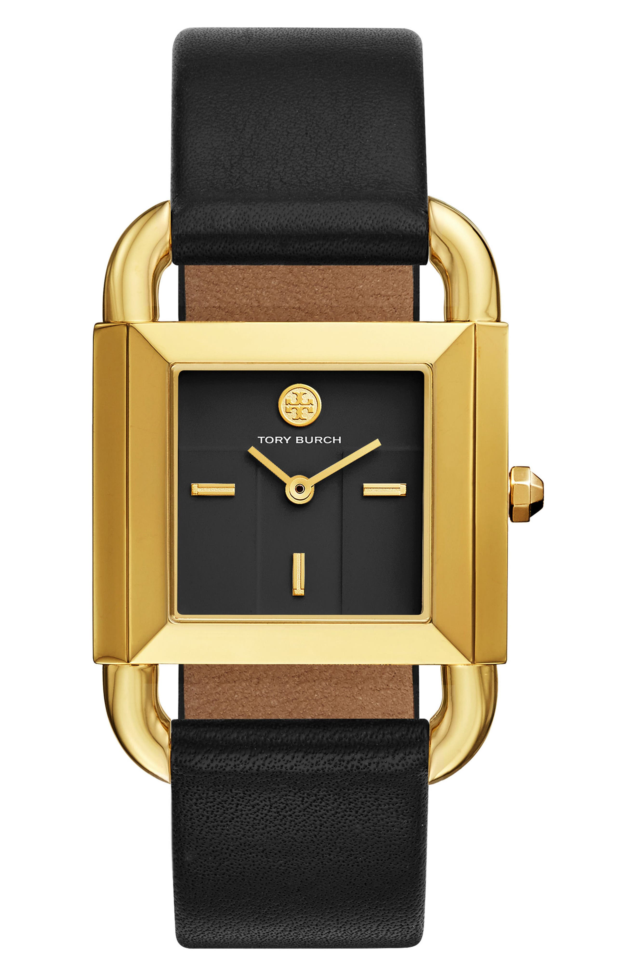 ,                             Phipps Leather Strap Watch, 29mm x 41mm,                             Main thumbnail 1, color,                             BLACK/ GOLD