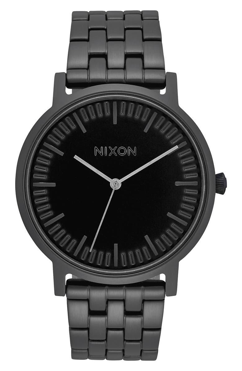 NIXON The Porter Bracelet Watch, 40mm, Main, color, BLACK