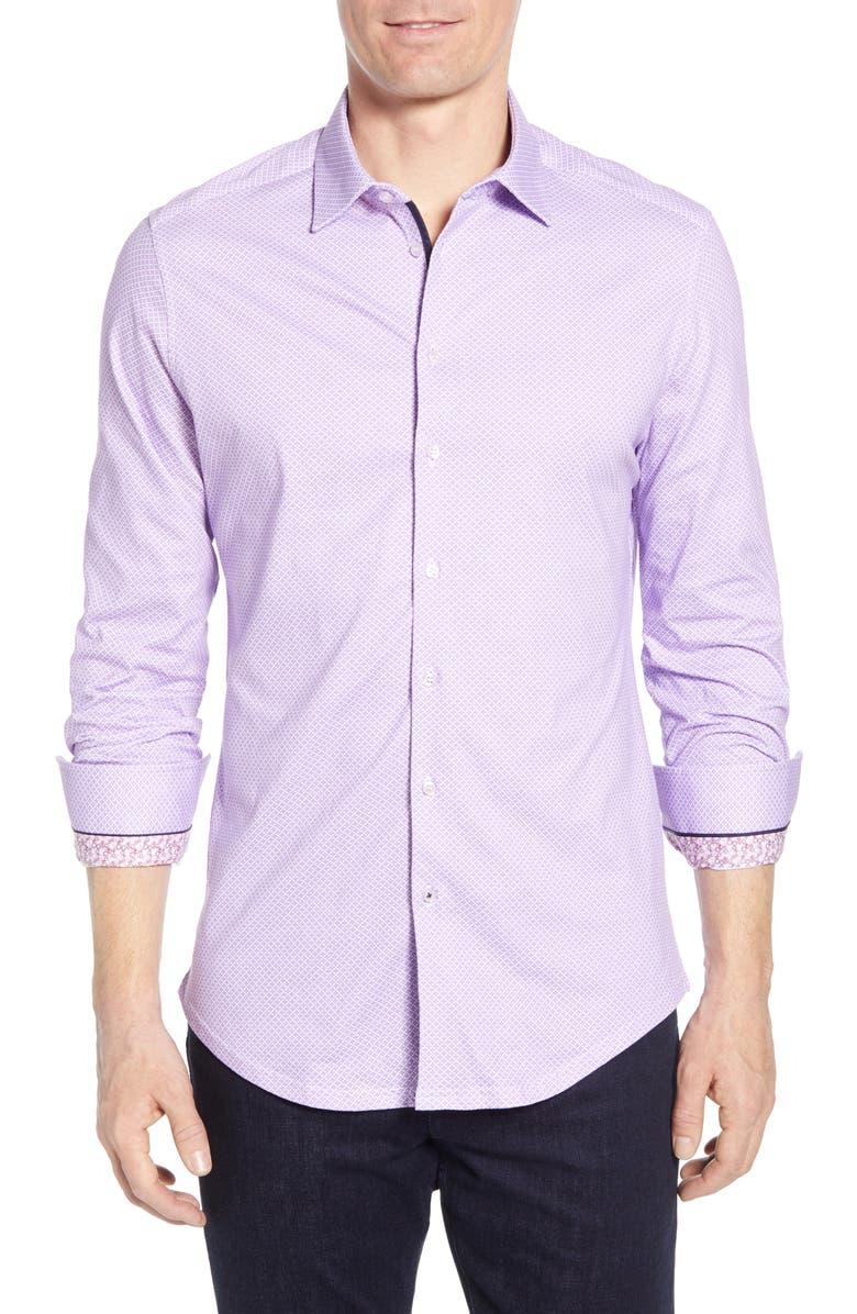 STONE ROSE Regular Fit Geo Print Cotton Shirt, Main, color, PURPLE