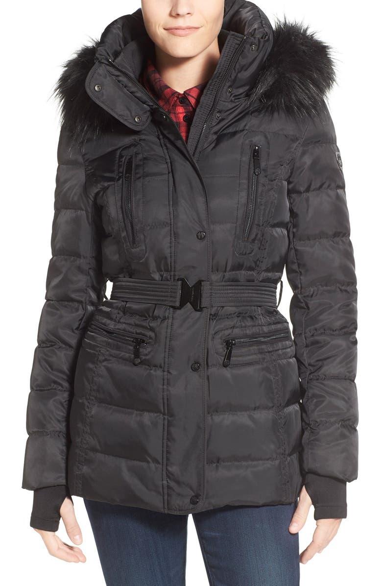 VINCE CAMUTO Faux Down & Feather Jacket with Faux Fur Trim, Main, color, 001
