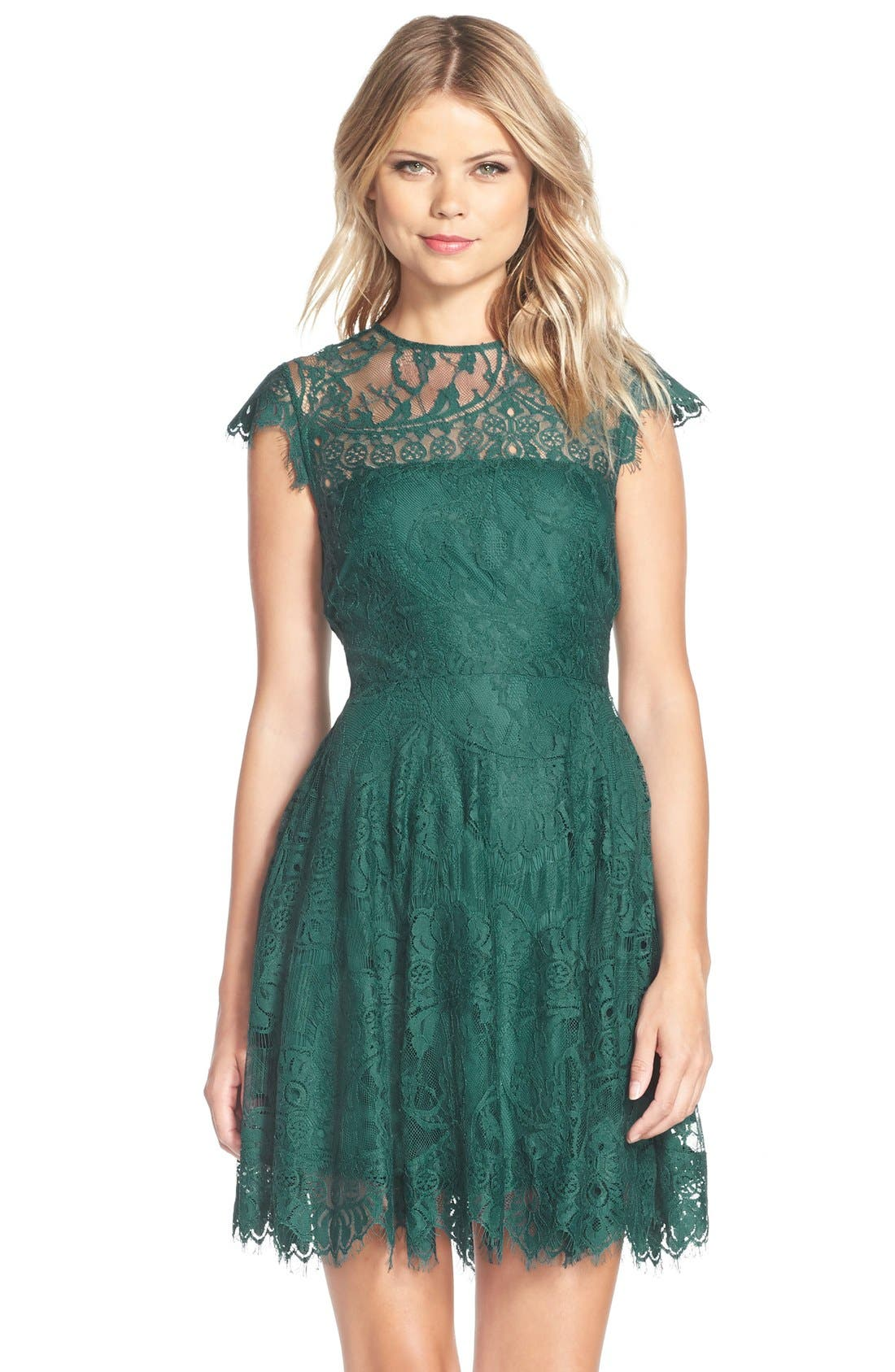 ,                             Rhianna Open Back Lace Fit & Flare Cocktail Dress,                             Main thumbnail 34, color,                             322