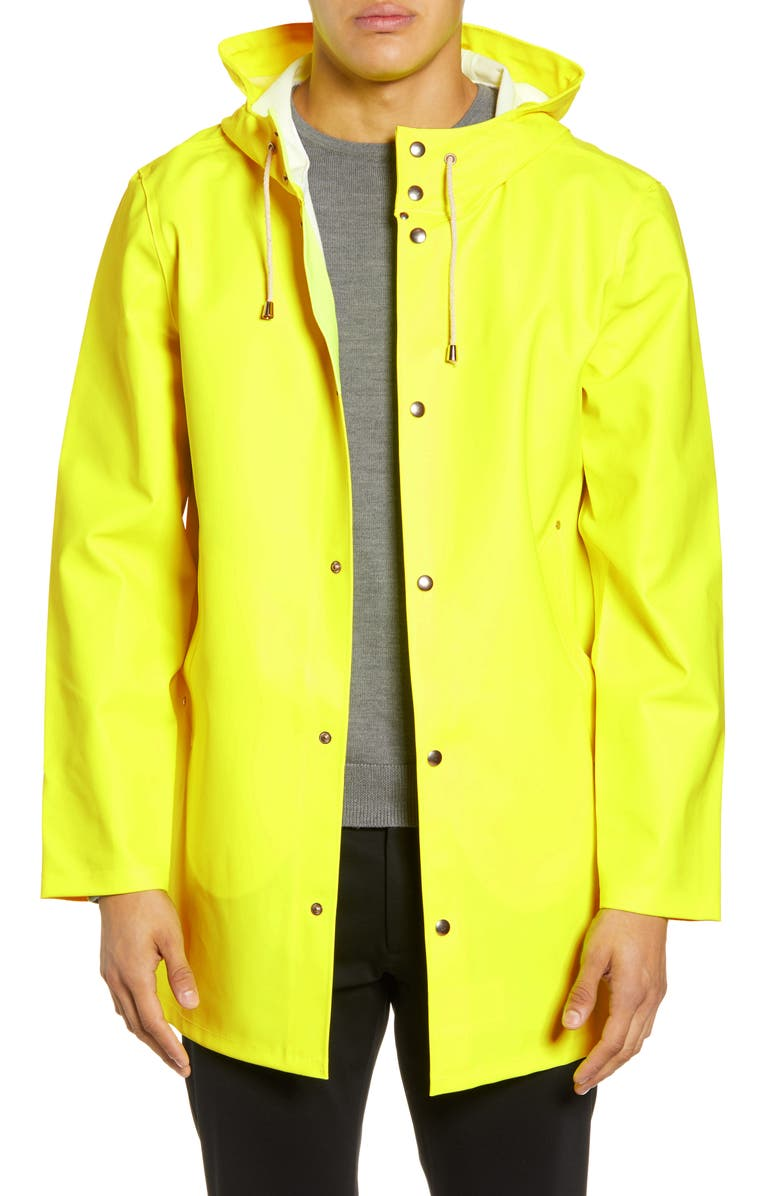 STUTTERHEIM Stockholm Waterproof Hooded Raincoat, Main, color, SAFETY YELLOW