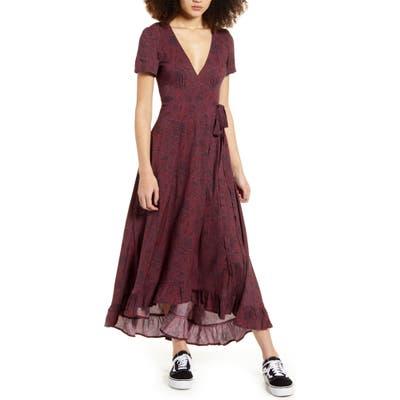 Lira Clothing Valentina Paisley Print Wrap Maxi Dress, Burgundy