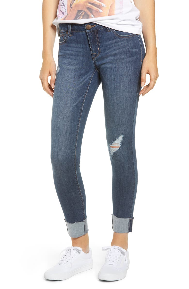 1822 DENIM Distressed Cuffed Ankle Jeggings, Main, color, CANDICE