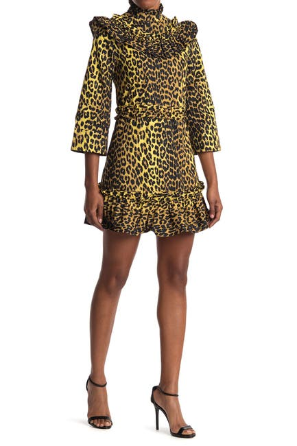 Image of GANNI Printed Cotton Mini Dress