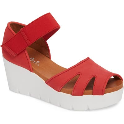 Bos. & Co. Sharon Platform Wedge Sandal - Red