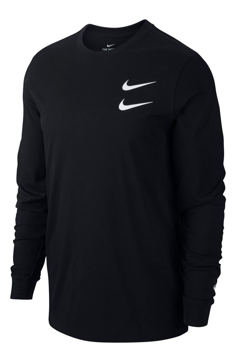 NIKE Sportswear Swoosh Long Sleeve Graphic Tee, Main, color, 010