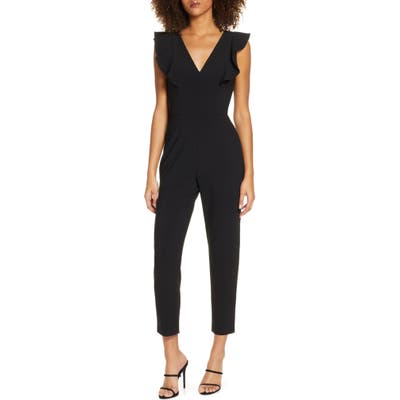 French Connection Whisper Ruffle Jumpsuit, Black