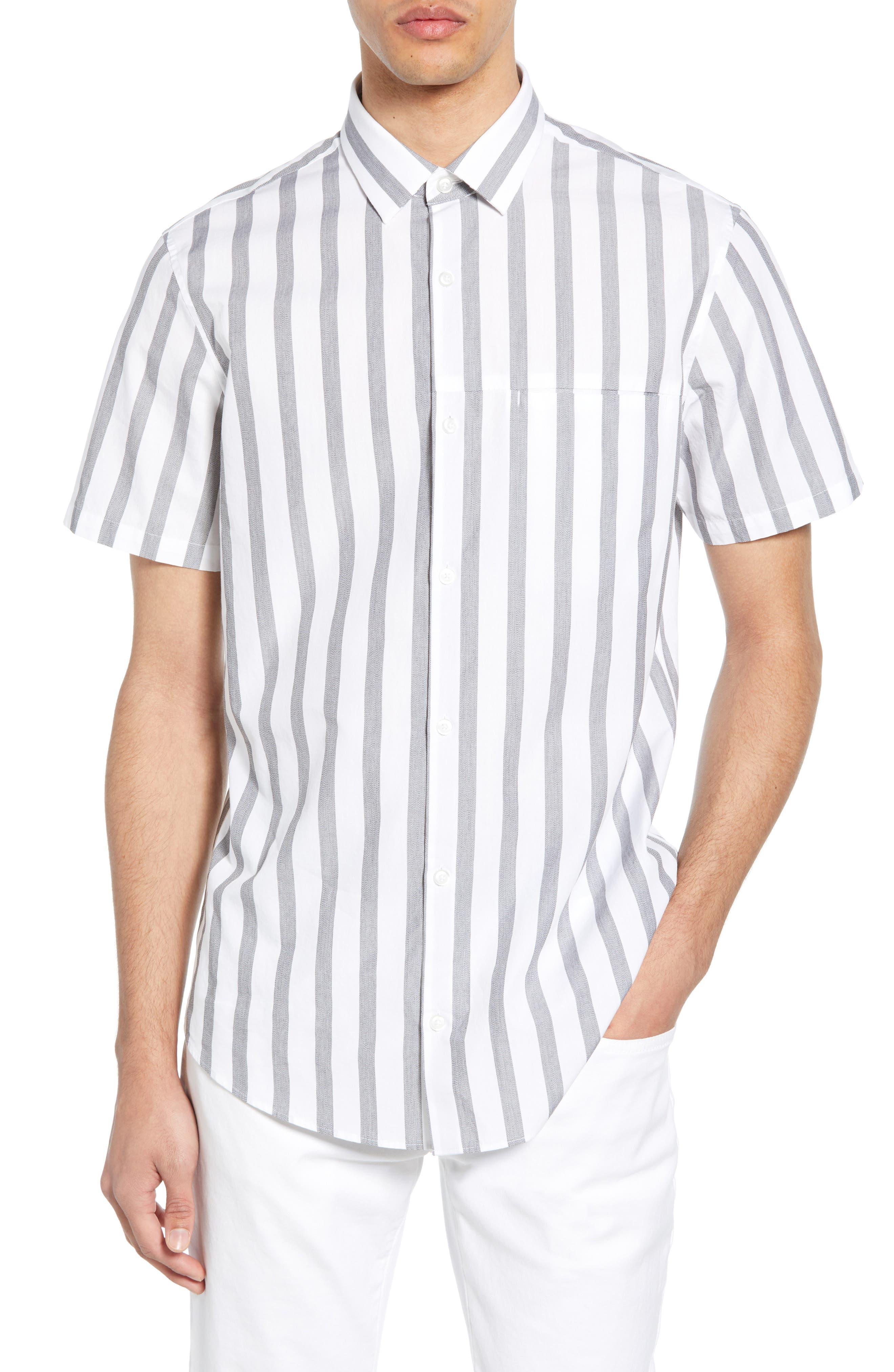 Calibrate Mini Collar Stripe Cotton Slim Fit Sport Shirt, White
