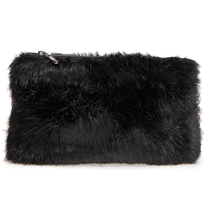BP. Faux Fur Clutch, Main, color, 001