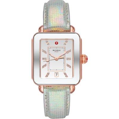 Michele Deco Sport Watch Head & Leather Strap Watch, Mm