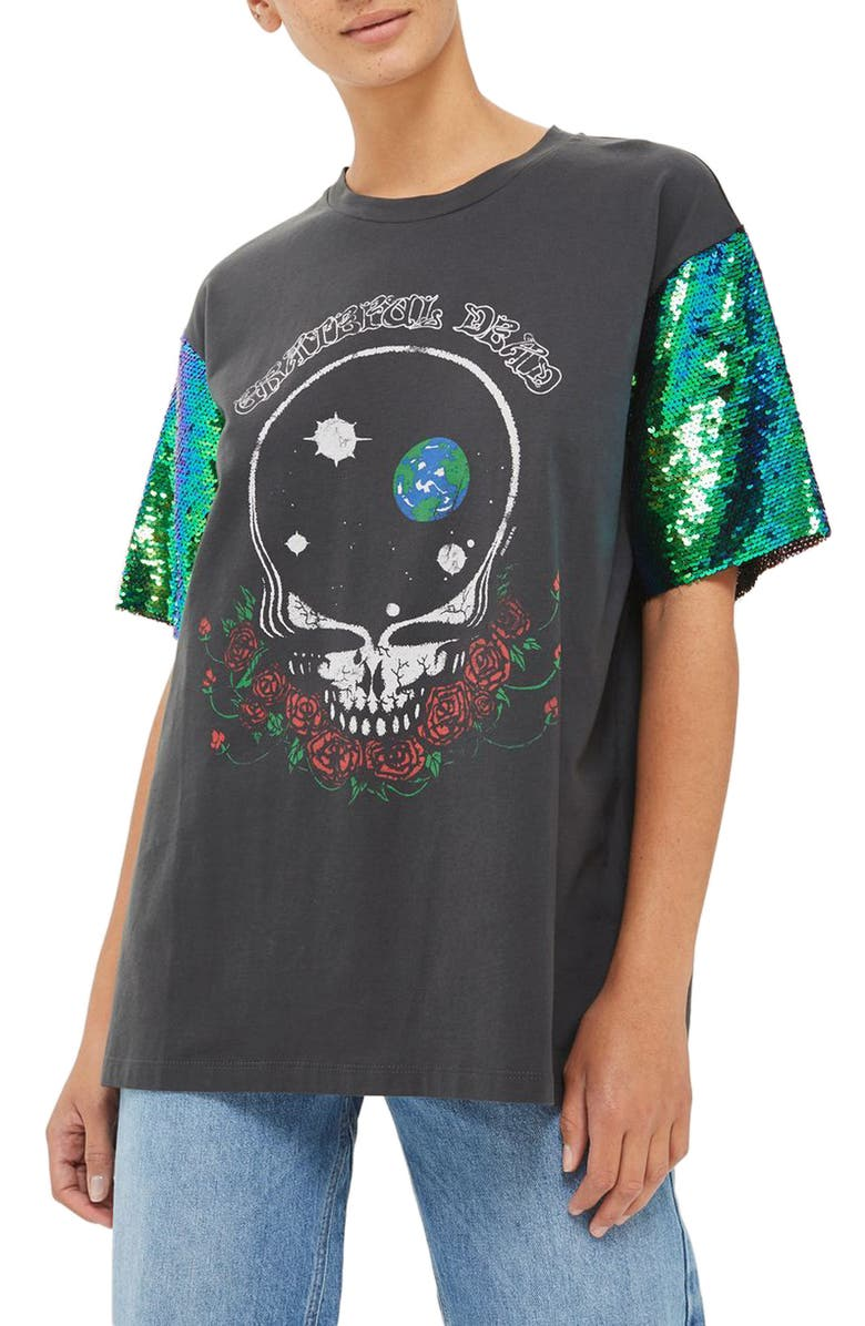 TOPSHOP by And Finally Sequin Sleeve Grateful Dead Tee, Main, color, 001