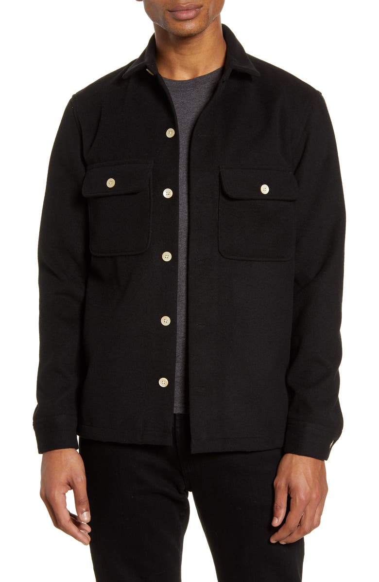 ALLSAINTS Lamoure Slim Fit Button-Up Chamois Shirt Jacket, Main, color, JET BLACK