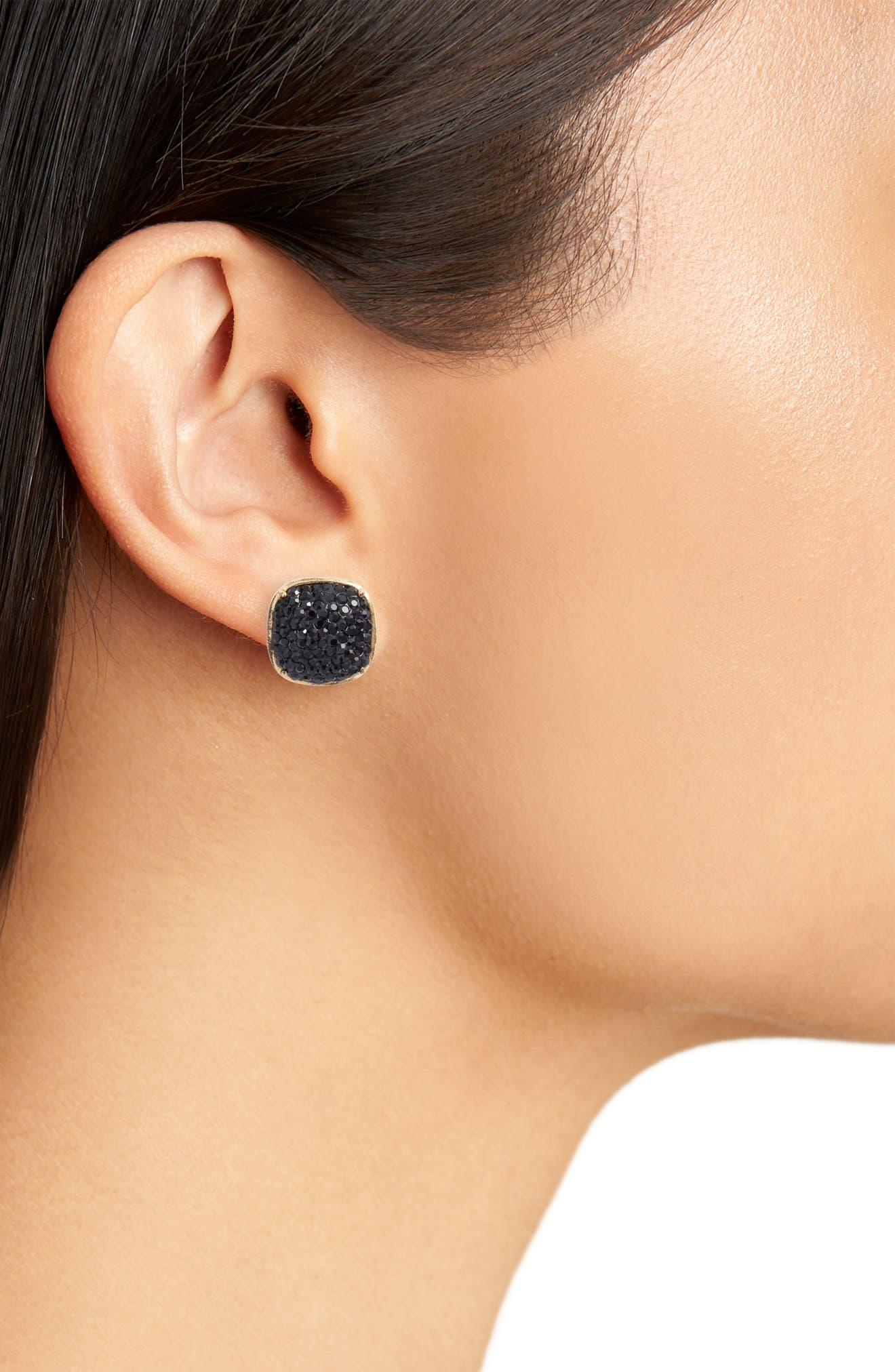 ,                             pavé small square stud earrings,                             Alternate thumbnail 2, color,                             JET
