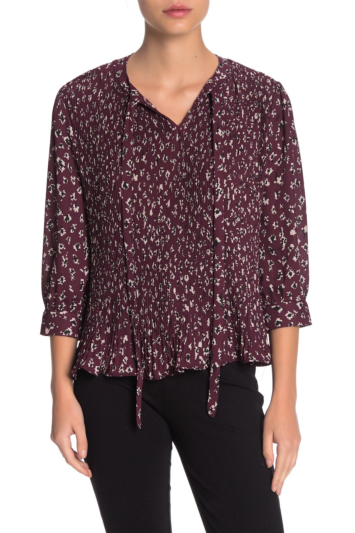 Image of Everleigh Tie Neck Pleated Blouse
