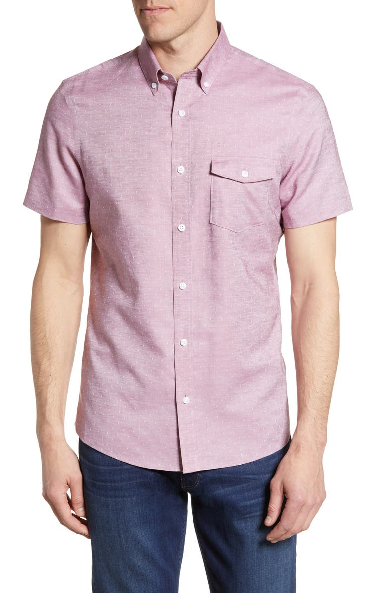 NORDSTROM MEN'S SHOP Nordstrom Mens Shop Slim Fit Short Sleeve Button-Down Shirt, Main, color, PINK SLUB DIAMOND DOBBY