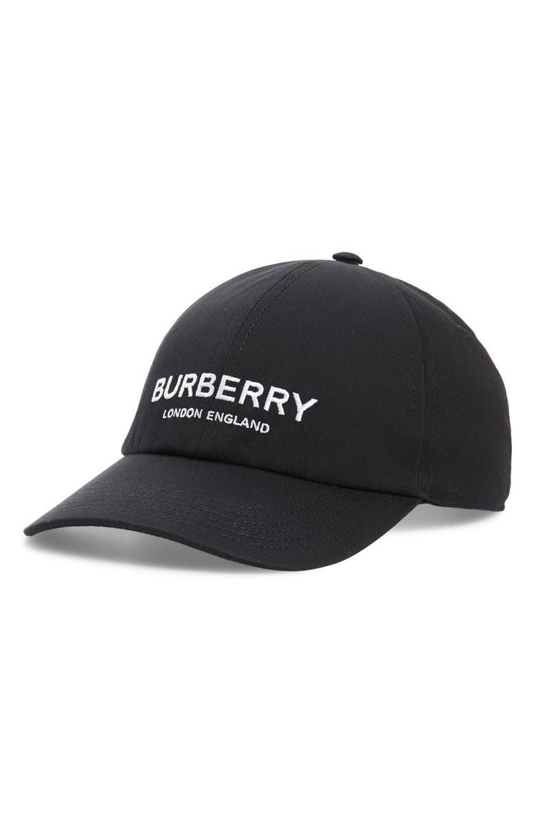 BURBERRY Logo Snapback Baseball Cap, Main, color, 001