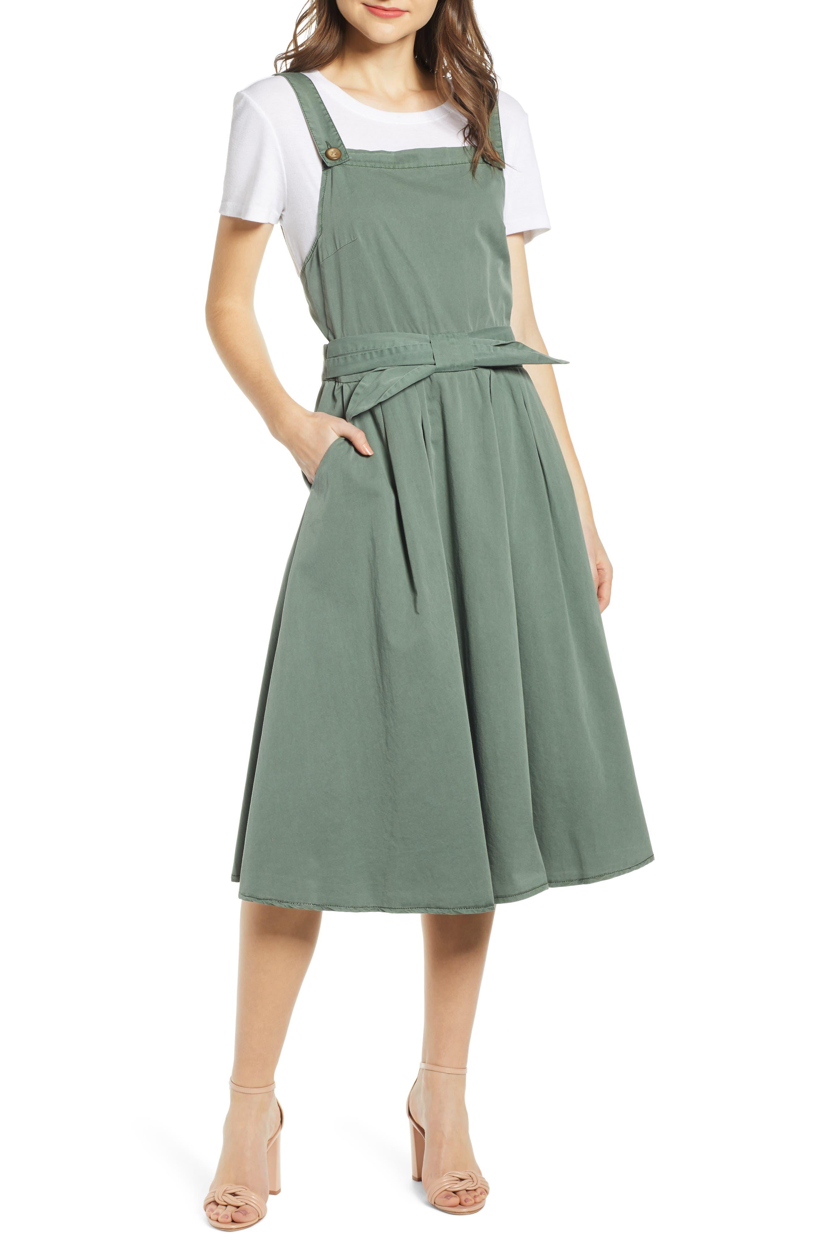 Vero Moda Flame Bow Front Cotton Jumper Dress, Green