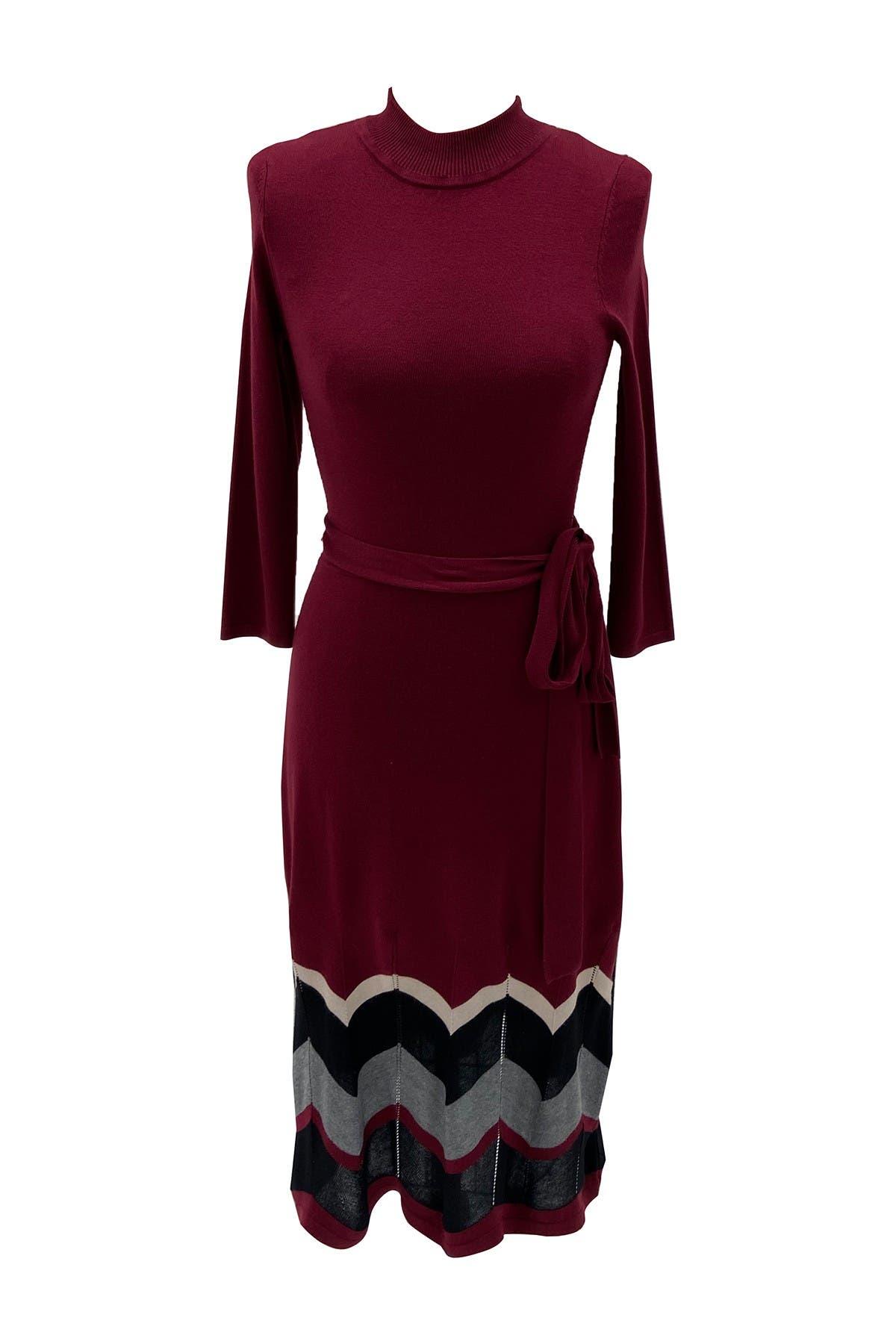 Image of Sandra Darren Mock Neck 3/4 Sleeve Sweater Dress