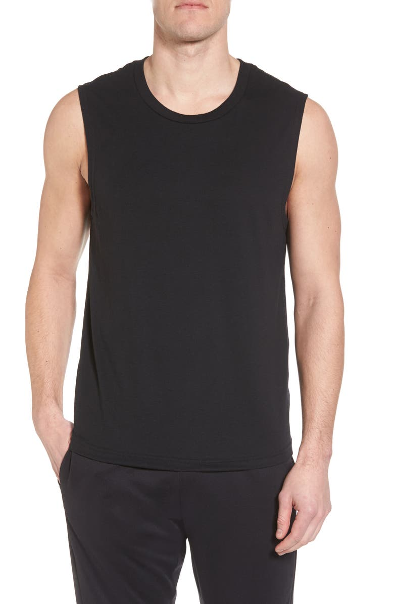 ALO The Triumph Sleeveless T-Shirt, Main, color, SOLID BLACK TRIBLEND