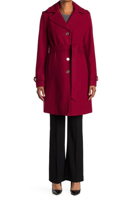 Image of MICHAEL Michael Kors Missy Belted Wool Blend Trench Coat