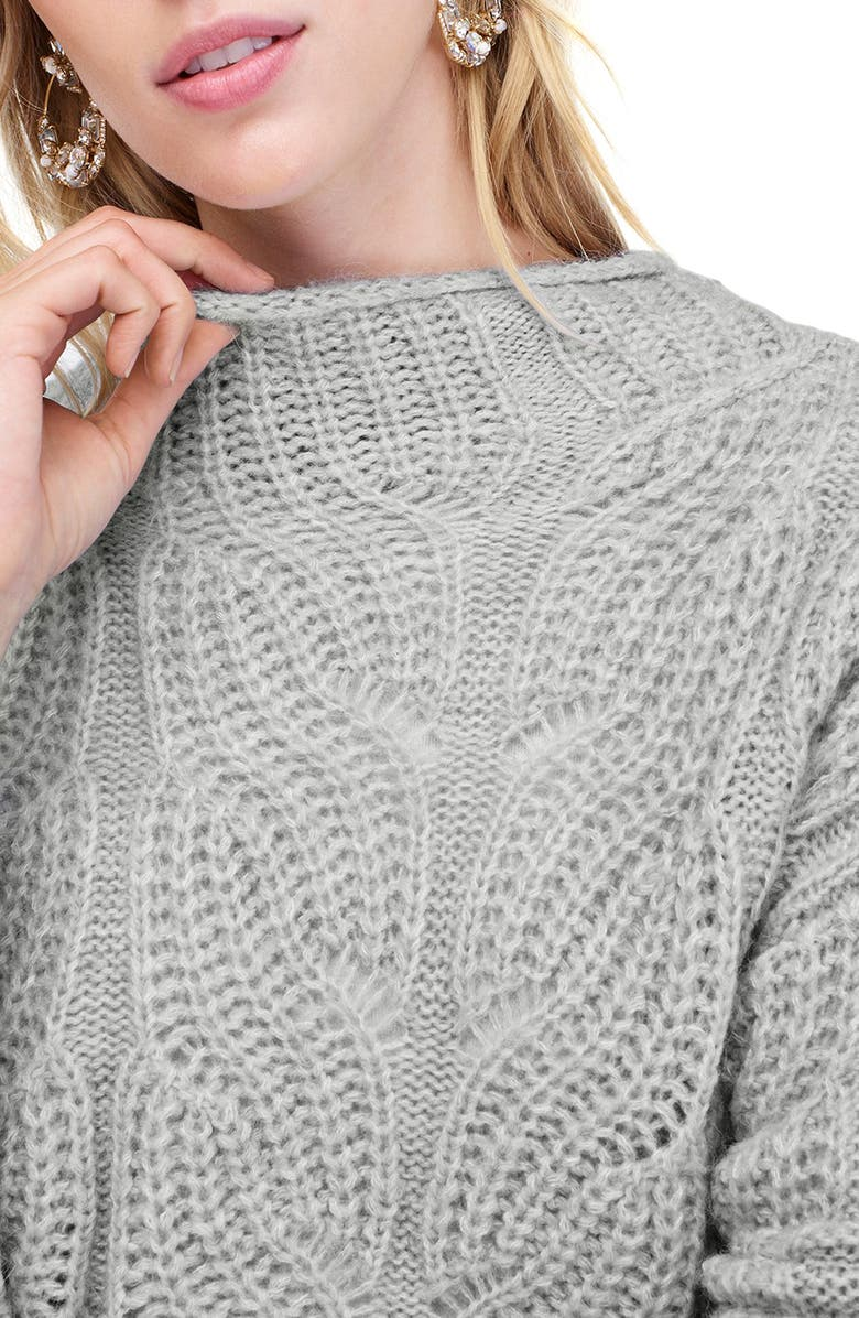 J.CREW Pointelle Cable Knit Sweater, Main, color, HTHR GREY