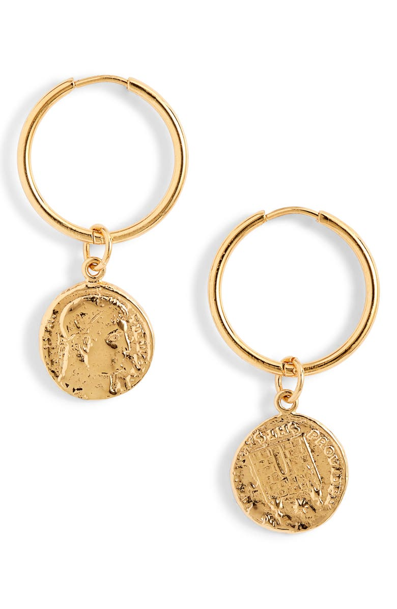 BRACHA C'est La Vie Hoop Earrings, Main, color, GOLD
