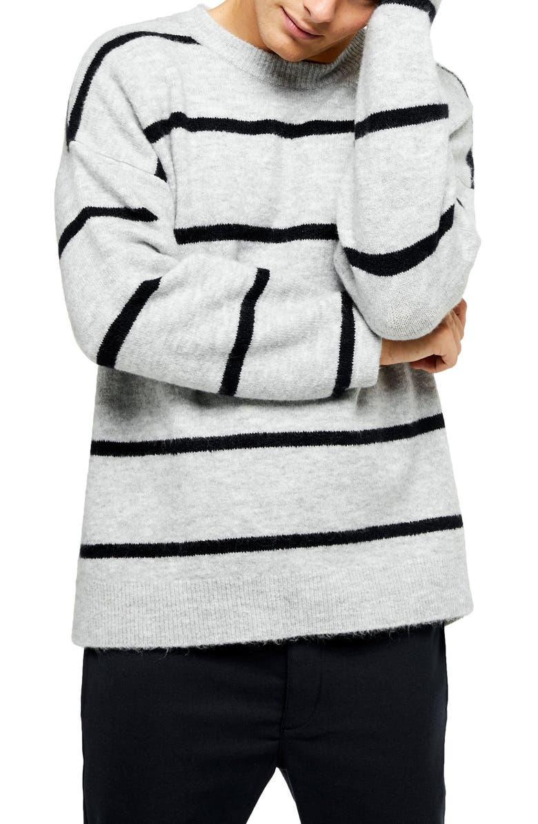 TOPMAN Harlow Classic Fit Stripe Crewneck Sweater, Main, color, GREY MULTI