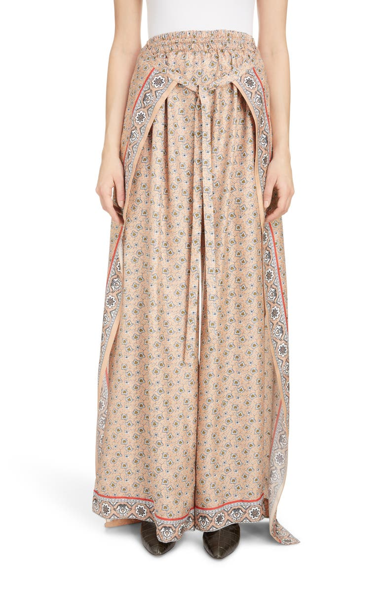 CHLOÉ Bandana Print Sarong Waist Wide Leg Silk Pants, Main, color, PINK - GREEN