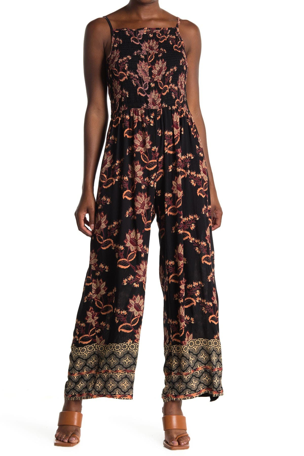 Image of Angie Floral Smocked Bodice Jumpsuit