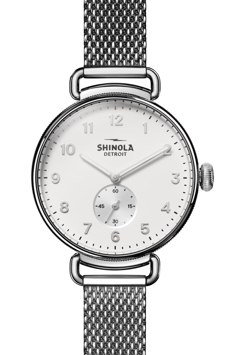 SHINOLA The Canfield Mesh Strap Watch, 38mm, Main, color, SILVER/ ALABASTER/ SILVER