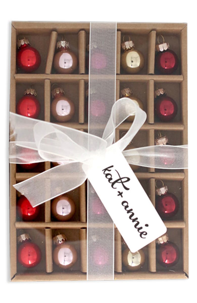 KAT + ANNIE Set of 25 Mini Ball Ornaments, Main, color, RED